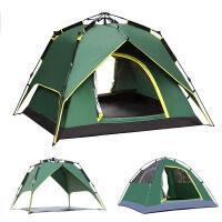 帐篷3-4人户外露营帐篷 液压全自动帐篷野营家庭自驾游套装 军绿 色