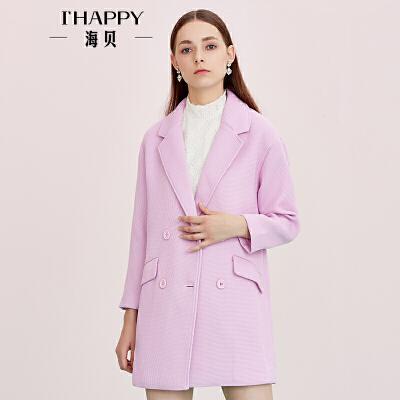 海贝秋季新款女装 简约通勤西装领双排扣纯色中长款时尚外套