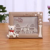 单个心形相框宝宝相框摆台7寸七寸 韩版可爱卡通韩式婚纱照儿童创意画框 happy熊 横 浅咖 +洗相片