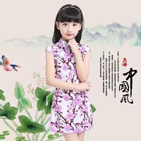 2017新款中国民族风夏季棉儿童旗袍连衣裙 小孩女孩公主女童唐装