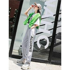 七格格哈伦裤女夏季装2018新款韩版高腰宽松灯笼裤子薄款ulzzang运动裤