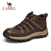camel骆驼男鞋秋冬户外靴男登山鞋防滑耐磨打蜡牛皮男士高帮鞋休闲男靴