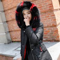 棉衣女中长款冬季2018新款韩版毛领加厚保暖棉袄学生条纹羽绒棉服