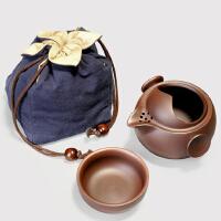 唐丰紫砂紫泥快客杯一壶一杯办公杯旅行茶具茶壶盖碗杯紫砂壶杯