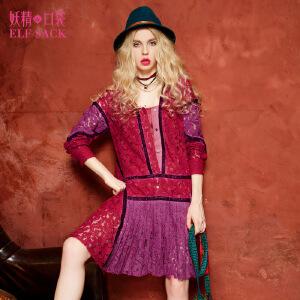 妖精的口袋车路士切尔西夏装淑女蕾丝拼接丝绒织带连衣裙中裙