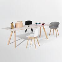 北欧实木办公桌会议桌长桌简约现代长方形餐桌洽谈桌大桌子工作台