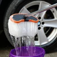 1.5米汽车蜡刷 牛奶丝蜡拖 不锈钢伸缩管洗车刷子洗车工具拖把长杆长柄伸缩软毛洗车刷