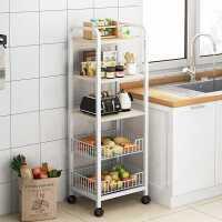 厨房置物架家用落地多功能菜篮子放锅收纳架可移动多层冰箱夹缝架