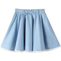 女童半身裙夏天洋气儿童牛仔裙夏季中大童百褶短裙子