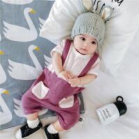 婴儿连体衣宝宝假2件背带平角包屁衣短袖夏装爬服0-1岁新生儿哈衣