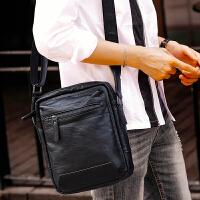 12新款单肩包韩版潮休闲斜跨男包包商务户外背包小斜挎包上班旅行平板包 黑色