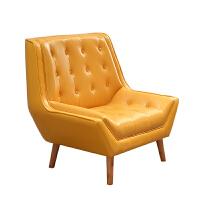 单人位沙发椅真皮北欧风实木阳台卧室客厅休闲美式黄色ins老虎凳