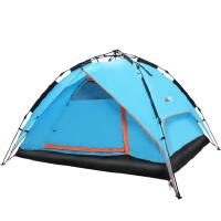 帐篷户外3-4人全自动家庭野外露营野营旅行拉绳帐篷双层
