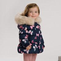davebella戴维贝拉女童冬装新款加厚保暖棉衣 印花棉服