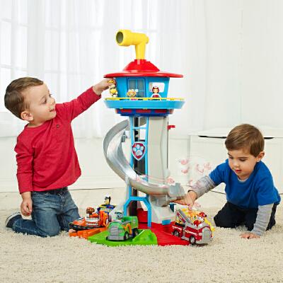 汪汪队立大功(PAW PATROL)超大号瞭望塔总部基地轨道停车场滑滑梯宝宝儿童玩具男孩玩具声光版 特大号声光版瞭望塔,丰富配件和灵活小部件