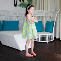儿童夏天裙子韩版洋气吊带连衣裙 公主女童海边度假沙滩裙中大童