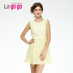 lagogo拉谷谷夏季新款钉珠收腰显瘦条纹洋装