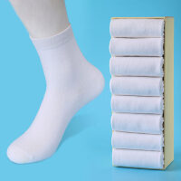 袜子女士纯棉中筒袜韩版学院风白色棉袜长袜运动女袜黑