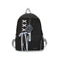 双肩包女新款书包女高中学生初中生背包校园 黑色 左上角蝴蝶结毛球