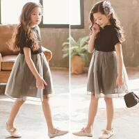 韩国童装女童裙子2018新款撞色网纱拼接连衣裙中大儿童洋气公主裙