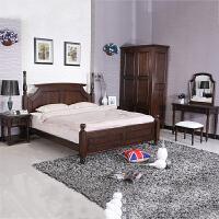 美式乡村全实木家具卧室全实木床黑胡桃色白橡木1.8米婚床
