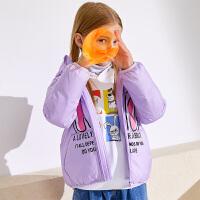 【品类日折后价:252.6】小猪班纳童装女童连帽羽绒服冬季中大童卡通短款保暖拉链外套反季