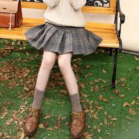 女童半身裙百褶裙儿童秋冬中大童小女孩春秋格子短裙裙子
