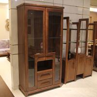 客厅酒柜 隔厅柜 胡桃木全实木酒柜 装饰柜 现代中式风格
