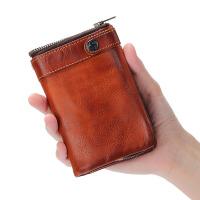 手工牛皮男士钱包复古做旧竖款搭扣拉链零钱包短款多卡位真皮钱夹 复古棕