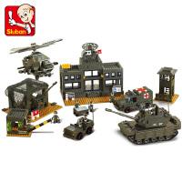 【满200减100】小鲁班陆军部队军事系列儿童益智拼装积木玩具 陆军总部M38-B7100