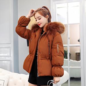 纤纯伊新款棉服短款大毛领棉衣女韩版冬季厚外套潮