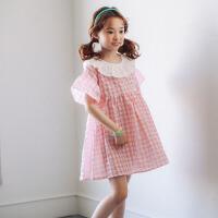 女童连衣裙夏装中大童短袖宽松气质淑女格子裙儿童海边度假沙滩裙