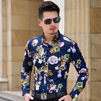 秋季新款大码中年男士长袖花衬衫时尚都市潮男眼镜帅哥棉厚款衬衣