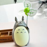 迷你可爱卡通电扇静音充电家用学习学生台灯夜灯小型USB时尚潮流风扇 如图