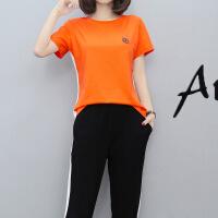 休闲套装女夏2018印花短袖七分裤两件套运动服T恤时尚跑步服