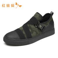 红蜻蜓男鞋春夏新款休闲鞋个性松紧带时尚印花百搭轻便男休闲鞋-