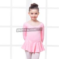 女童舞蹈服装秋冬连体裙幼儿长袖芭蕾舞裙纯棉儿童舞蹈服装练功服