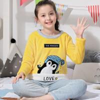 冬季加厚法兰绒睡衣女童韩版公主家居服服儿童珊瑚绒睡衣