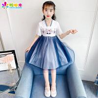 汉服女童夏季古装中国风公主裙子襦裙薄款夏装儿童短袖连衣裙