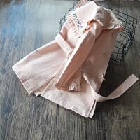 韩国童装2017春装新款女童风衣 中长款 儿童韩版公主纯棉花边外套