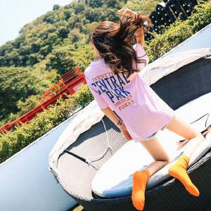 【618大促 每满100减50】欧洲站chic短袖女夏季2018新款宽松长款t恤女中长款下体失踪衣服