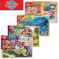 包邮美国新品盒装木制 火车农场恐龙工程车消防车海洋 4合1拼图二合一农场拼图
