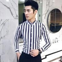 衬衣男英伦酒店风2018春秋季新上款韩版男士修身长袖条纹弹力衬衫