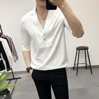 夏季短袖衬衫男青年英伦西装领五分袖衬衣潮流发型师宽松中袖寸衫