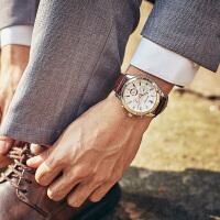 男士手表男时尚潮流商务款休闲真皮带男表学生防水石英表