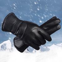 骑行防寒防水防风摩托车骑车触屏手套男士保暖加绒加厚皮手套