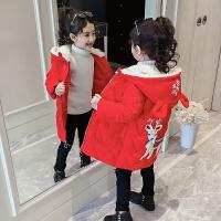 儿童女棉袄冬装中长款女童棉衣加绒洋气童装外套