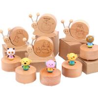 木制创意旋转卡通动物音乐盒榉木蜗牛音乐玩具木质工艺品