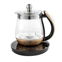 先科(SAST)养生壶 煮茶器 煮茶壶 烧水壶 电热水壶 迷你玻璃花茶壶1.5L 带滤网 黑金色 棕白色 XH-801D