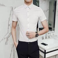 夏季男士中袖纯色衬衫修身韩版商务休闲百搭白衬衣青年发型师寸衫